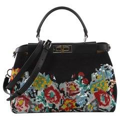 Fendi Peekaboo Handbag Beaded Nylon Regular