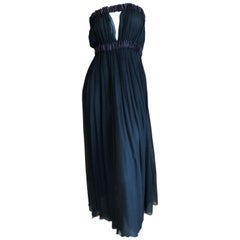 Yves Saint Laurent Rive Gauche Black Pleated Strapless Keyhole Dress