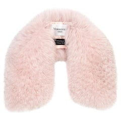 Verheyen London Peter Pan Collar in Pastel Rose Pink Fox Fur and lined in silk