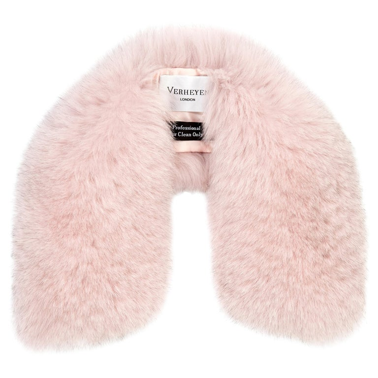 Verheyen London Peter Pan Collar in Pastel Rose Pink Fox Fur and lined in silk