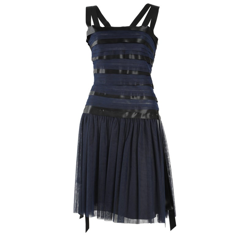 Chanel Runway Ribbon Cocktail Dress  For Sale