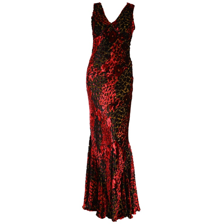 Etro Velvet Red Floral Gown  For Sale