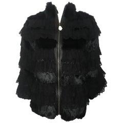 Magical Manoush New Black Lace & Rabbit Fur Jacket