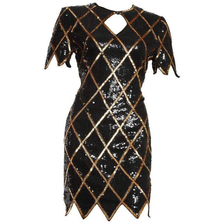 f5925591b9be Vintage 1980 La Scala Sequin Dress For Sale at 1stdibs