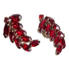Weiss Austrian Garnet Crystal Marquis Ear Crawlers, 1950s