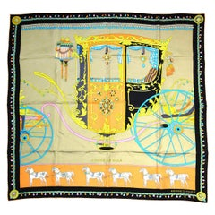 Hermes Coupe De Gala Orange/Tan W/ Black Boarder Washed Silk Scarf  rt. $430