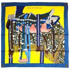 Hermes Blue/Gold Selle De Dignitaire 90cm Silk Scarf