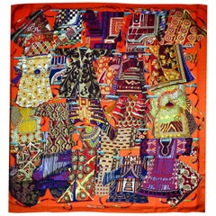 Hermes Orange Voyage En Etoffes Cashmere/Silk Shawl/Scarf