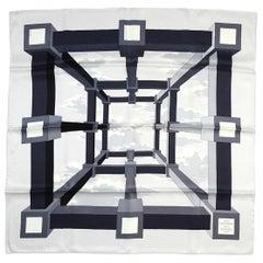 """Hermes Black/White 26"""" A.M. Cassandre Pour Hermes Silk Scarf, New In Box"""