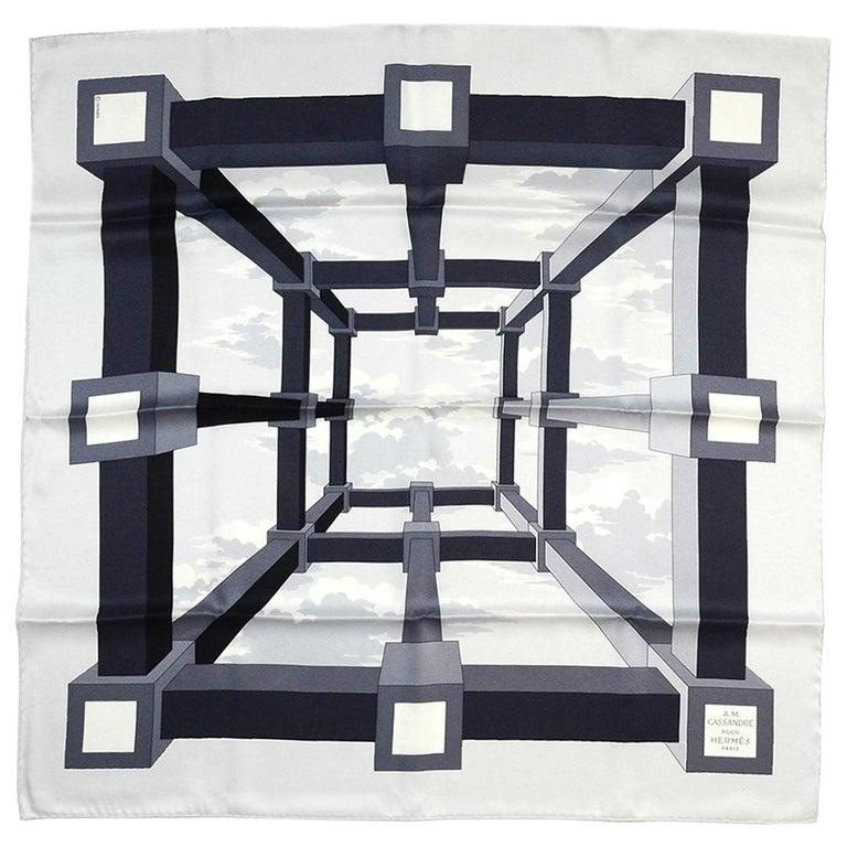 "Hermes Black/White 26"" A.M. Cassandre Pour Hermes Silk Scarf, New In Box For Sale"