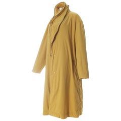 Issey Miyake men's mustard nylon puffer coat, ca. 1980s