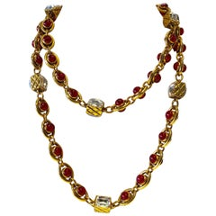 Rare Vintage Chanel 1980's Byzantine Diamanté Statement Necklace