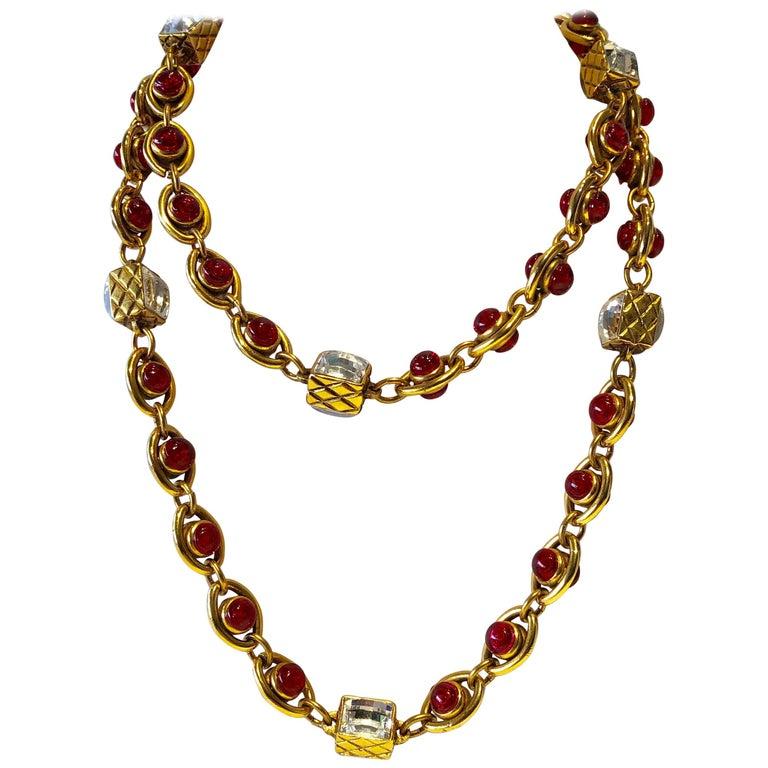 Seltene Vintage Chanel 1980er Jahre Byzantinische Diamant Statement Halskette  1
