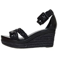 Hermes Black Woven Leather Wedge Sandals Sz 38