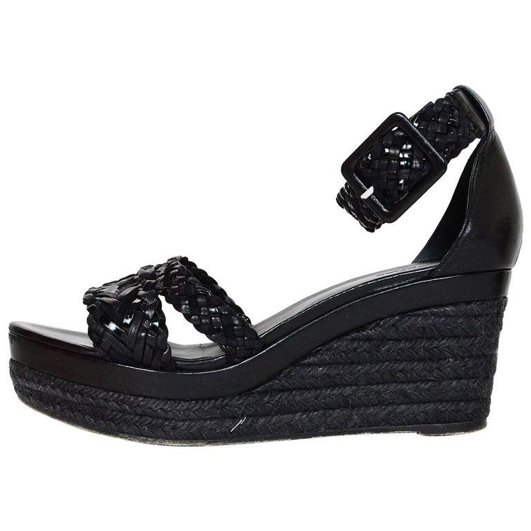 4ea8700abd1 Hermes Black Woven Leather Wedge Sandals Sz 38