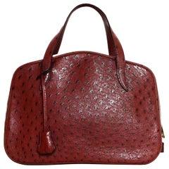 Hermes Neue Limitierte Auflage Kastanienbraune Straußen Doha Tasche mit Staubbeutel, Schloss und Schüssel