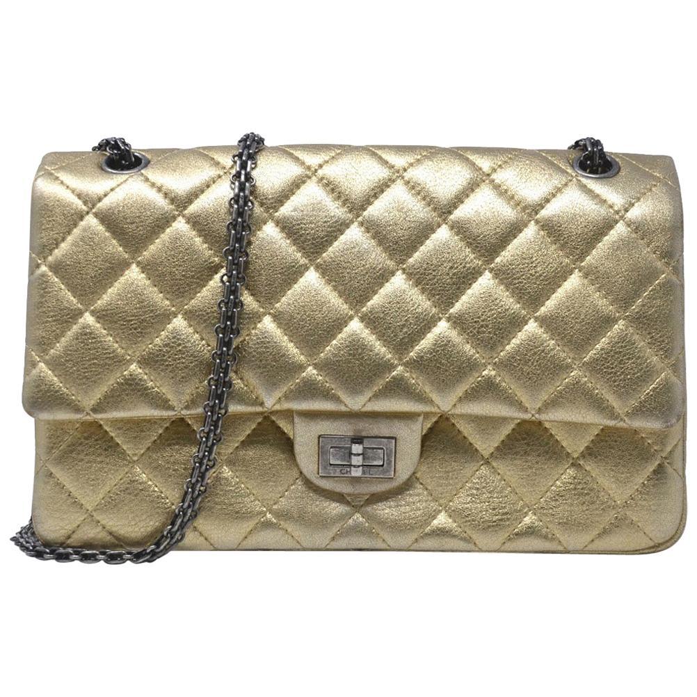 Chanel 2.55 Reissue Jumbo Double Flap Chevron Gold Leather Handbag