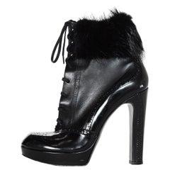 Robert Clergerie Black Patent Leather Short Boot W/ Fur Trim Sz 9.5