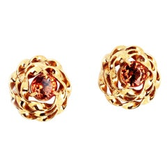 Songea Sapphire 14Kt Yellow Gold Stud Earrings