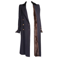 Chanel Haute Couture Navy Blue Double Breasted Coat with a Mink Lining
