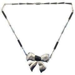 Art Deco Machine Age Black bakelite necklace by Jacob Bengel