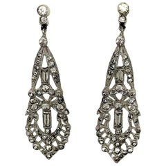 Circa 1920s Clear Faceted Stone Dangling Earrings