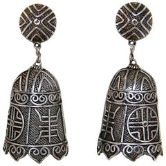 Circa 1930s Chinese Sterling Silver Bell Shape Earrings