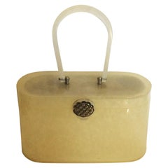 1950s Wilardy Marbelised Lemon Lucite handbag Purse