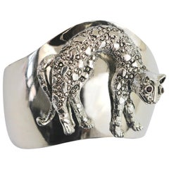 Artisan Modern Silver Plate 'Cat' Cuff Bracelet