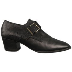 ROBERT CLERGERIE Size 8.5 Black Leather Lizard Panel Monk Strap Shoes