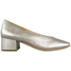 LOEFFLER RANDALL Size 7 Silver Metallic Leather Chunky Heel BROOKS Pumps