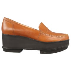 ROBERT CLERGERIE Size 8 Tan Leather Black Rubber Platform Loafers