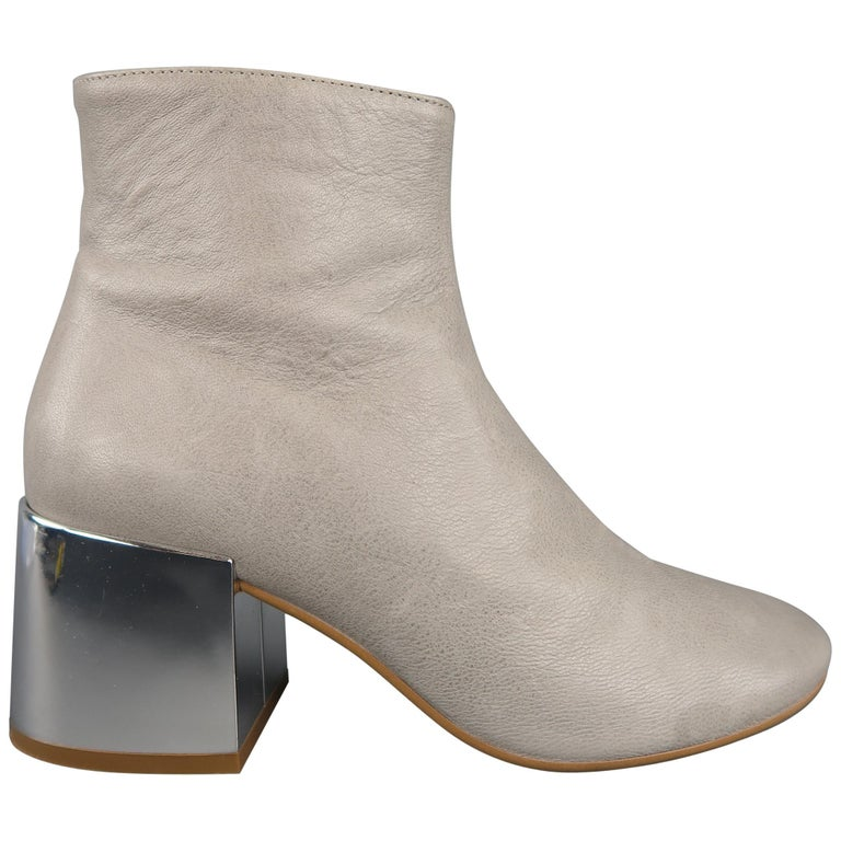 ad97e94882c57 MAISON MARTIN MARGIELA Size 8.5 Grey Leather Mirrored Chunky Heel Ankle  Boots For Sale