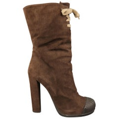 FENDI Size 9 Brown Corduroy Textured Suede Rubber Toe Lace Up Boots