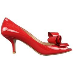 VALENTINO Size 8.5 Red Patent Leather Bow Peep Toe Pumps