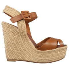VALENTINO Size 8.5 Tan Leather Braided Espadrille Patform Wedge Sandals