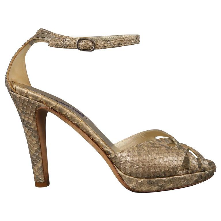 bd058f55d RALPH LAUREN COLLECTION Size 9 Gold Glitter Phyton Skin Platform Sandals  For Sale