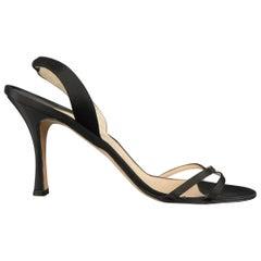 MANOLO BLAHNIK Size 12 Black Silk Satin X Strap Slingback Sandals