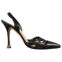 MANOLO BLAHNIK Size 6.5 Black Leather Pointed Cutout Toe Slingback Pumps