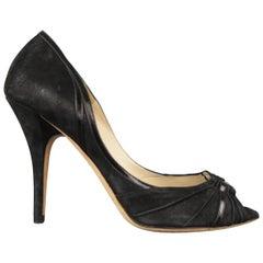 JIMMY CHOO BOUTIQUE Size 9 Black Suede Gold Hoop Peep Toe Heels Pumps