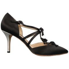 OSCAR DE LA RENTA Size 6.5 Black Silk Bow T Strap Silver Heel Pumps