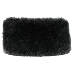 Y's by YOHJI YAMAMOTO Black Wool Faux Fur Neck Warmer Scarf