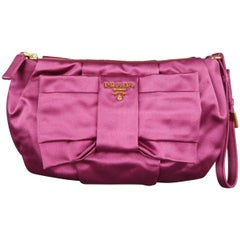 PRADA Pink Silk Satin Bow Wristlet Handbag