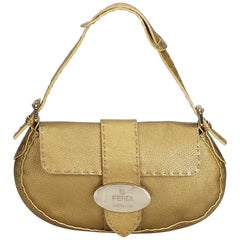Fendi Gold Selleria Leather Baguette