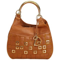 Dior Brown Embossed Leather 61 Hobo Bag