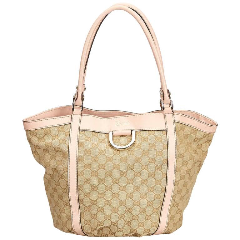 21b22893e Gucci Brown x Beige x Pink Guccissima Jacquard Abbey D-Ring Tote For Sale
