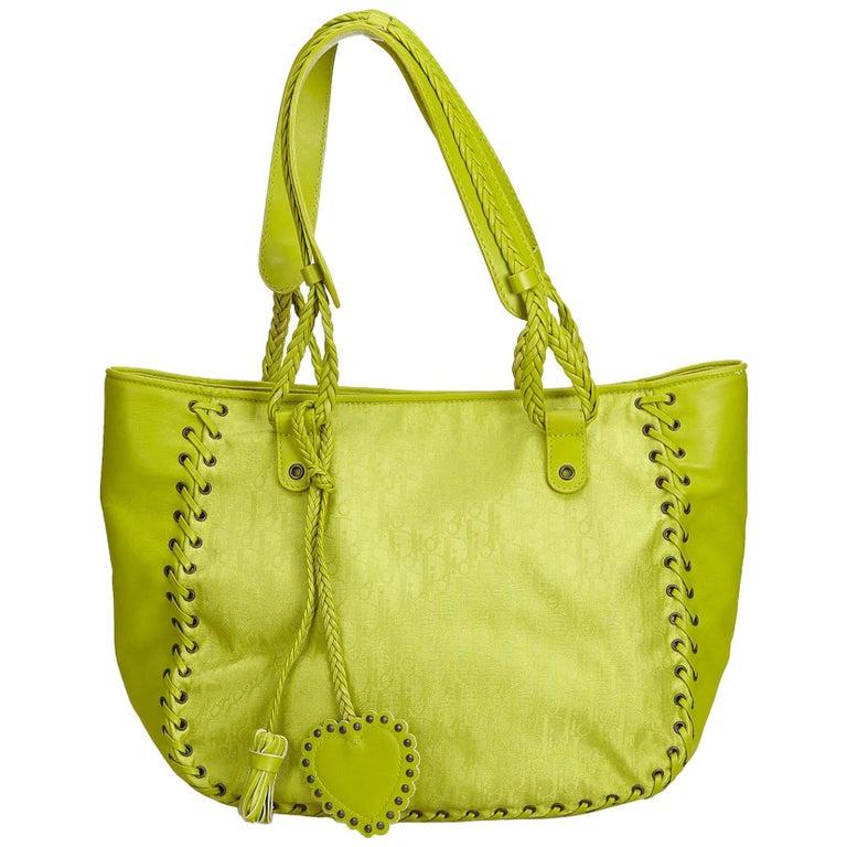 d5f176ec69bc5 Dior Green x Light Green Oblique Jacquard Tote at 1stdibs