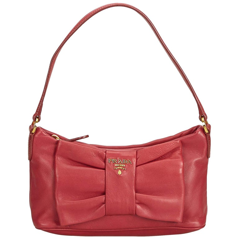 c742fc58a7e0 Prada Pink Leather Bow Baguette at 1stdibs