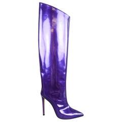 ALEXANDER VAUTHIER Size 7.5 Purple Metallic Patent Leather ALEX Knee High Boots