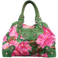 BALENCIAGA Pink Floral Silk & Green Leather 'FLORAL CITY' Top Handle Handbag